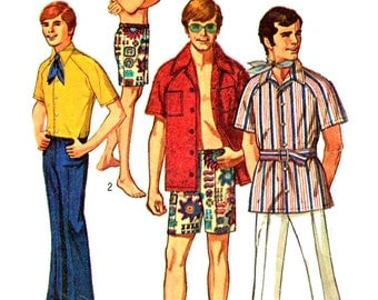 Mens Hip Hugger Short Bell Bottom Pants Button Up Shirt Vintage 1970s Simplicity 8856 Sewing Pattern Chest Size 40