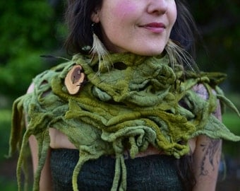 Felt Cowl-Woolen Shawl-Pixie Wear-Neck Warmer-Woodland Costume-Tree Roots-Fairy Scarf-Festival Wear-Tree Costume-Moss Green Felt- OOAK