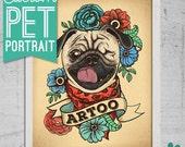 Pet portrait 11x14 print custom dog portrait art print stylized tattoo cat illustration puppy portrait with flowers pet lover gift dog cat