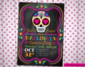 Sugar Skull Day of the Dead Birthday or Halloween Party Invitation Custom printable digital file invitation bright colors girly punk
