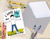 """INSTANT DOWNLOAD Father's Day Card print at home for kids to color coloring page kid personalize with face and hair """"I love you this much"""""""