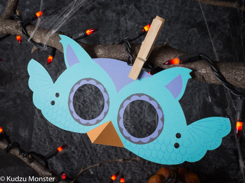 Printable Halloween Owl Mask for kids DIY Halloween activity