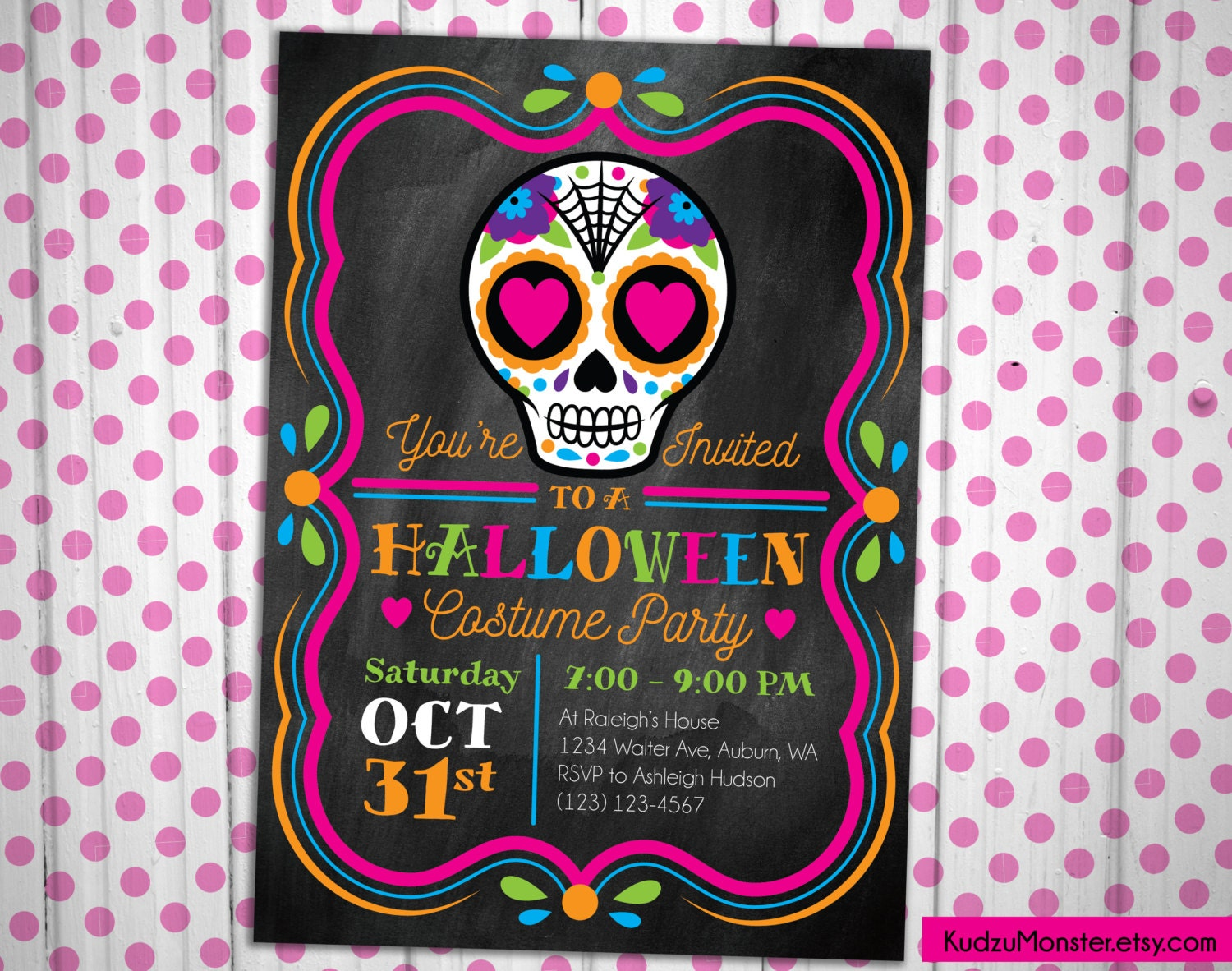 Sugar Skull Day Of The Dead Birthday Or Halloween Party - Halloween birthday invitations etsy