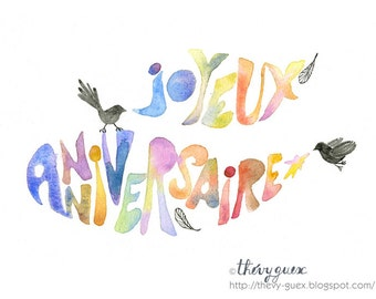 Happy Birthday Joyeux Anniversaire Bird Watercolor Painting Card, Multicolor Rainbow Anniversary Notecard, Typography Art Greetings Card