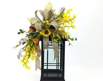 Spring Lantern Swag in Yellow with Forsythia, Pansies, and Bird's Nest, Spring Decor, Floral Swag, Yellow Floral Swag, Forsythia Decor