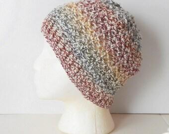 Crochet Skullcap Beanie Hat in Autumn Medley, ready to ship.