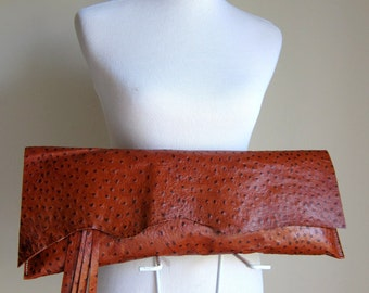 RESERVED LISTING - LEATHER Large Oversized Huge Clutch Bag Purse Shoulder Strap Cross Body - Raw, Rustic with Raw Edge & Fringe - Textured