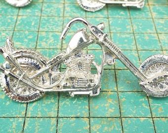 Chopper Motorcycle, vintage Vest pin, V twin bike,  4 count, biker jewelry, get your motor running
