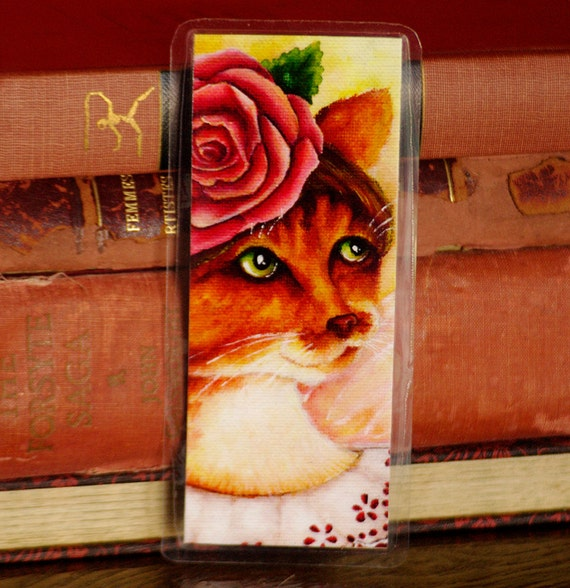 Rose Cat Bookmark, Flower Fairy Cat Art Bookmark
