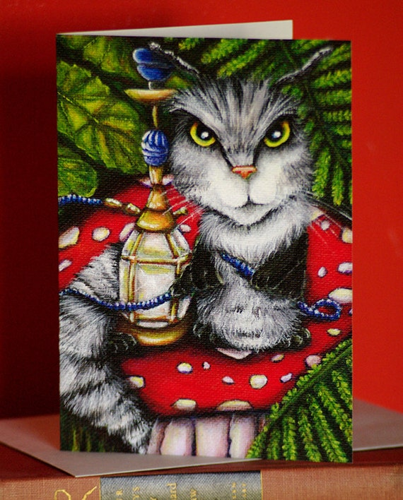 Caterpillar Cat Card, Alice in Wonderland Mushroom Fantasy Cat Greeting Card