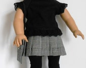 """SALE - Wool pleated skirt, Glen plaid; black knit shirt with lace trim, and purse fit 18"""" dolls like American Girl"""