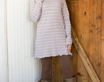SAMPLE SALE - Sizes Small/Medium and Large/XL - Hemp Hooded Tunic Dress - Hemp and Organic Cotton Knit