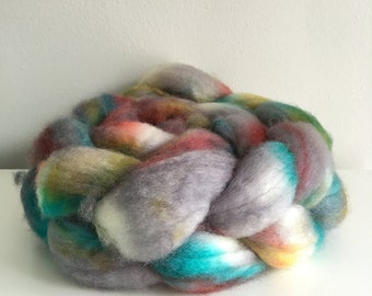 Spinning fiber OOAK 100% Superwash Blue Faced Leicester (BFL) roving top hand dyed