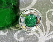 Green Glitter and Faceted Crystal Silver Ring