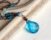 Blue Quartz Necklace with Gemstones on Oxidized Sterling Silver - Deep Ocean by CircesHouse on Etsy