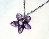 Amethyst Necklace, Flower Necklace, Pearl Necklace, Oxidized Sterling Silver-- Violet by CircesHouse on Etsy