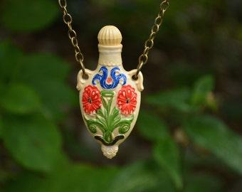 Antique Vase Necklace, Vintage, Long Necklace, Bottle