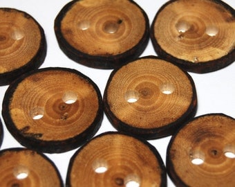 Handmade Wooden Tree Branch Buttons, Rustic Natural Buttons, Ash Wood, Set of 10, One Inch