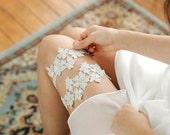 Silver lace garter set, gold garter, wedding garter set - style #479 set