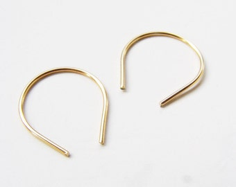 Tiny Upside Down Teardrop Arc Earrings Gold Filled Hoop