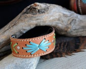Kangaroo Leather Southwestern Style Cuff Hand Saddlery Stitched in Tan, Turquoise and Apple Green
