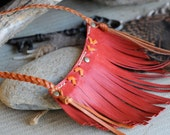 Kangaroo Leather Southwestern Style Red Fringed & Hand Saddlery Stitched Pendant with Ochre Plaited Necklace