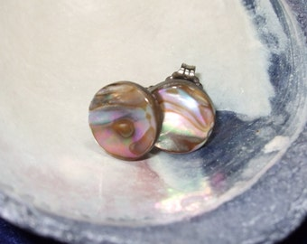Pinkish Paua Shell Stud Earrings Titanium Posts and Clutches Handmade in Newfoundland 10mm Round Hypo Allergenic