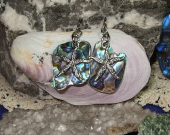 Paua Shell Starfish Dangle Earrings Earings Titanium Ear Wires Handmade in Newfoundland Hypo Allergenic