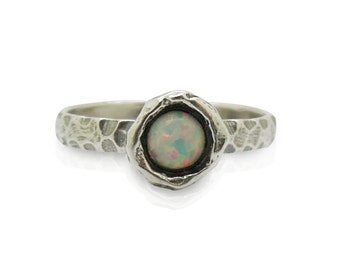 Opal ring set in hammered sterling silver, stacking ring