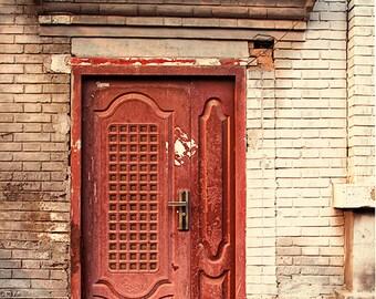 Door Photography, Rustic Decor, Red Door Photograph, Beijing China, architecture photography, urban city street, autumn art, travel photo