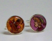 Upcycled vintage comic book Scooby Doo and Shaggy image Recycled into silver plated cufflinks