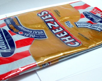 Pencil case UPCYCLED from Canadian Classic Hawkins Cheezies chip wrapper recycled into cool pencil case, catch all bag