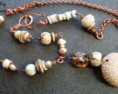 Boho Chic Shell Ocean Inspired Rustic Neutral Long Necklace, Naga Shell Glass Copper Lampwork Ceramic Beachy Necklace