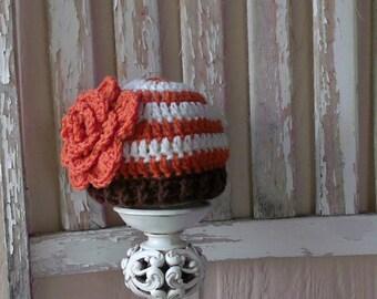 Fall Baby Flower Hat, Newborn Fall Hat, Crochet Fall Baby Girl Hat, First Thanksgiving, Fall Photo Prop, Pumpkin Cream Brown