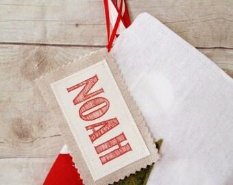 Christmas stocking fabric name tag