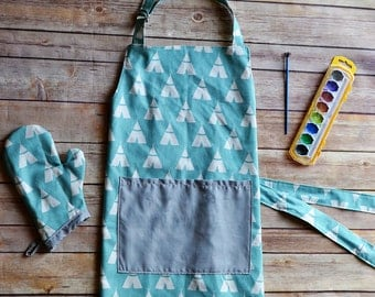 Little boy aqua blue teepee apron with matching oven mitt