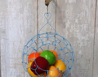 Large Sphere Hanging Wire Basket In Distressed Blue