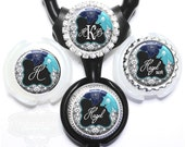 Littmann Stethoscope Name Tag - Gray Damask and Blue Flowers Stethoscope Id with Name, Monogram, Occupation Title (A211)