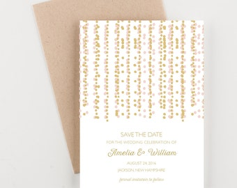 Confetti Streamers Save The Date, Pink and Gold, Bridal Shower, Wedding Announcement