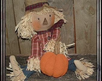 Primitive folk art hand embroidered scarecrow raffia hair straw handmade pumpkin HAFAIR haguild OFG country style faap