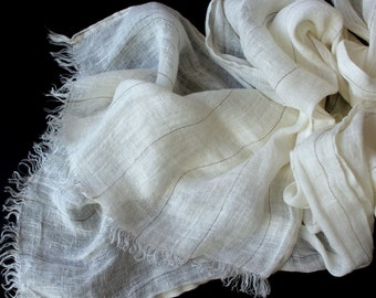 White Linen Scarf | Off-White Striped 100% Linen Scarf | Womens Mens Scarf | Flax Natural Pure | Spring Accessory | Lightweight #EtsyGifts