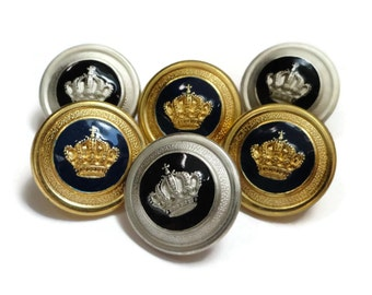 Crown Blazer Buttons for Coat Sleeve - 6 High Quality Gold or Silver 5/8 inch 15mm for Jewlery Beads Coat Jacket Sleeves