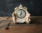 Electric Porcelain Clock With Two Angels Pink And Gold With Green Clock Face Needs Repair Vintage Antique From Nowvintage on Etsy