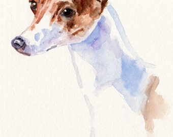 WHIPPET Original Watercolor Double Matted 8x10 Ready to Frame