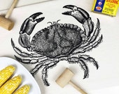 CRAB Kitchen Towel Flour Sack Towel Seafood Crab Feast Maryland Housewarming Gift Foodie Gift Hostess Gift Kitchen Decor Black and White