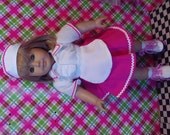 5pc Diner Outfit Fits American Girl Dolls MaryEllen 18 inch Doll Clothes 1950's style Car Hop/Diner Outfit Roller Skates Included Item 490