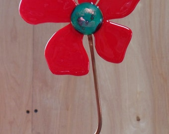 Plant Stake, fused glass, Red Poppy,  Flower Power