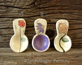 Pottery Scoop with Flower Design - Sugar Spoon - Coffee Scoop - Small Scoop - by DirtKicker Pottery