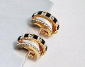1970 Rhinestone Double Hoop Earrings, Black & Clear Square Stones, Vintage