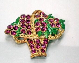 Purple Rhinestone Basket Brooch, Flower Pin, Gilt Metal, Enamel, Vintage 1930